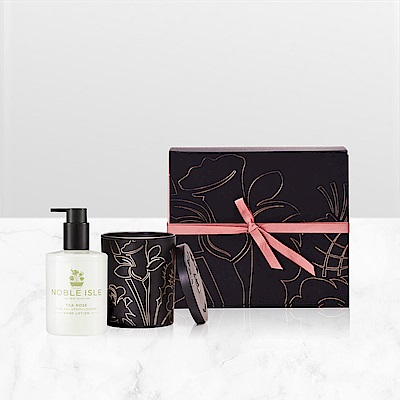 NOBLE ISLE 茶玫瑰寵愛香氛護膚禮盒 (護手乳250mL +蠟燭200g)
