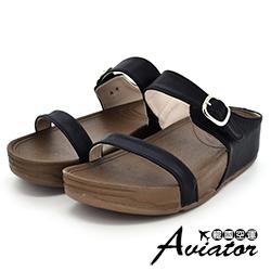 Aviator韓國空運-正韓製皮革雙帶扣環美體厚底涼鞋-黑