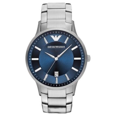 EMPORIO ARMANI 時尚典範紳士日期腕錶-銀X藍(AR11180)43mm