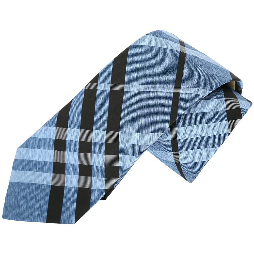 BURBERRY Vintage 現代剪裁格紋絲質領帶(藍色)