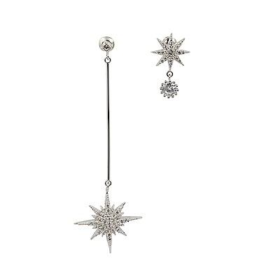 Prisme美國時尚飾品 閃耀水鑽流星 銀色耳環 耳針式