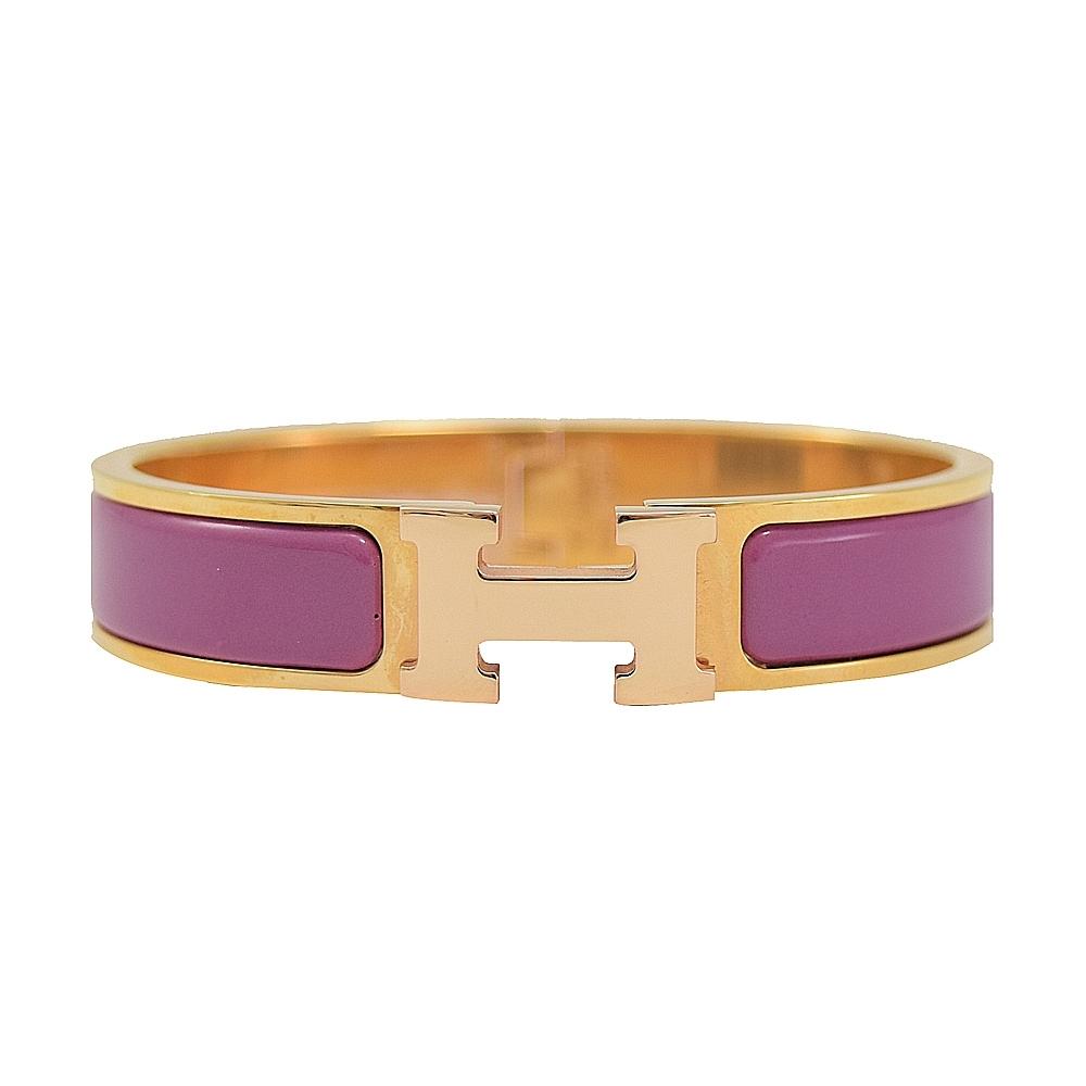 HERMES CLIC H LOGO琺瑯扣式手環(玫瑰金/杜鵑紫)