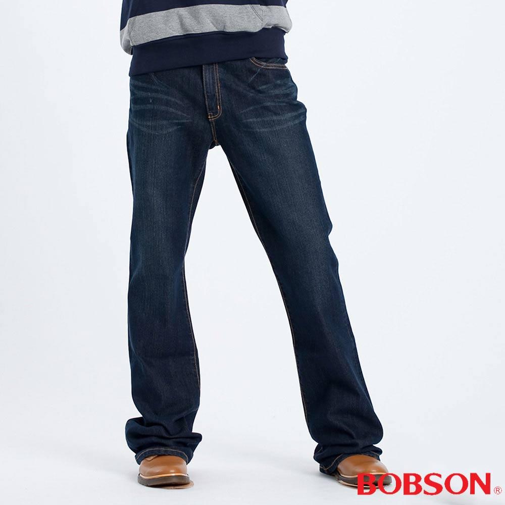 BOBSON 男款深藍伸縮喇叭褲