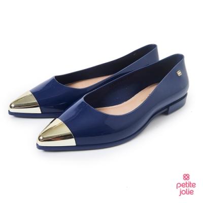 Petite Jolie--金屬配色尖頭果凍娃娃鞋-靛藍