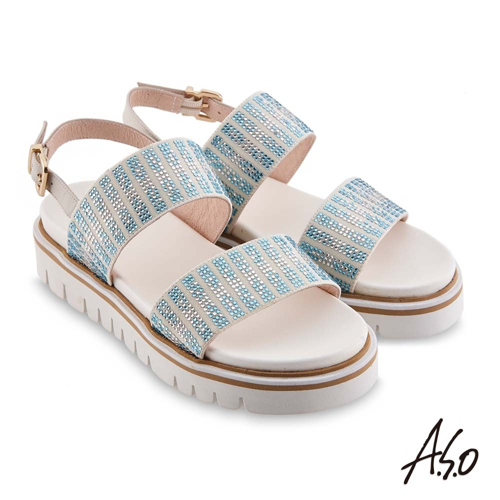 A.S.O時尚流行 夏季輕量漸層燙鑽休閒底台涼鞋-白