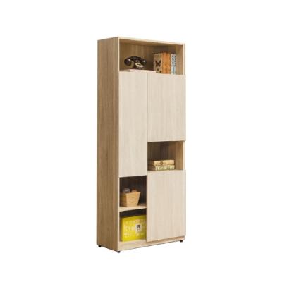 柏蒂家居-瑞莎2.5尺三門開放式書櫃/展示置物櫃/收納櫃-75x40x197cm