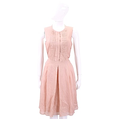Max Mara 棉麻抓褶粉色綁帶無袖洋裝