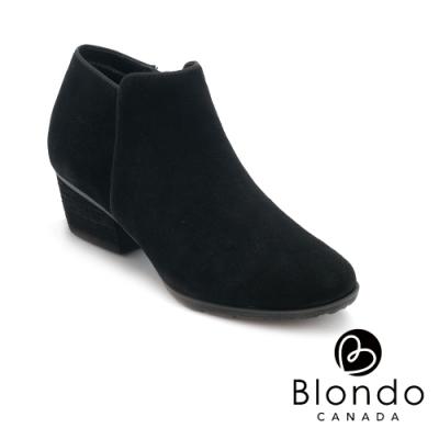 BLONDO-VILLA 時尚極素尖頭粗跟拉鍊短靴-絨黑色