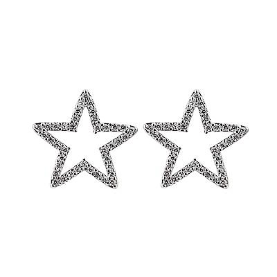 kate spade經典五角星設計鑽鑲飾穿式耳環(銀)