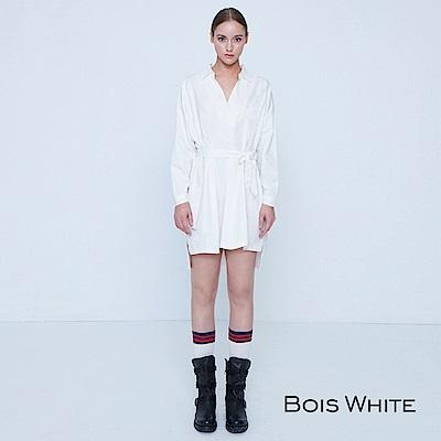 Bois White-綁帶長板襯衫洋裝-白/黑