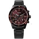 CITIZEN 羅馬刻度 三眼計時 日期 夜光指針 不鏽鋼手錶-葡萄紫x鍍深灰/44mm