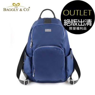 [福利品]【BAGGLY&CO】防盜真皮尼龍後背包秋冬色系款(藍色)(絕版出清)
