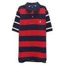 Ralph Lauren 大童小馬條紋短袖POLO衫-紅色