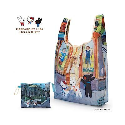 Sanrio HELLO KITTY*麗莎和卡斯柏可折疊環保購物袋(麵包店)