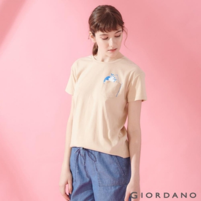 GIORDANO 女裝DEAR WORLD 系列純棉印花口袋T恤-02 水泥灰