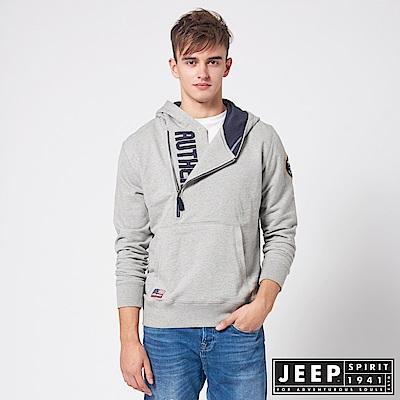 JEEP 美式休閒造型拉鍊連帽TEE -灰色