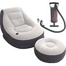 豪華頭等艙單人充氣沙發附腳椅+三合一打氣筒