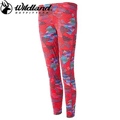 【Wildland 荒野】女彈性時尚保暖內搭褲印花紅