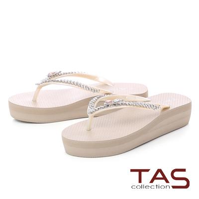 TAS鳳梨水鑽人字厚底夾腳拖鞋-輕感膚