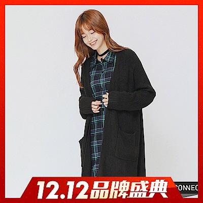 [雙12一日限定]H:CONNECT 韓國品牌 女裝-柔軟開襟口袋針織外套-黑