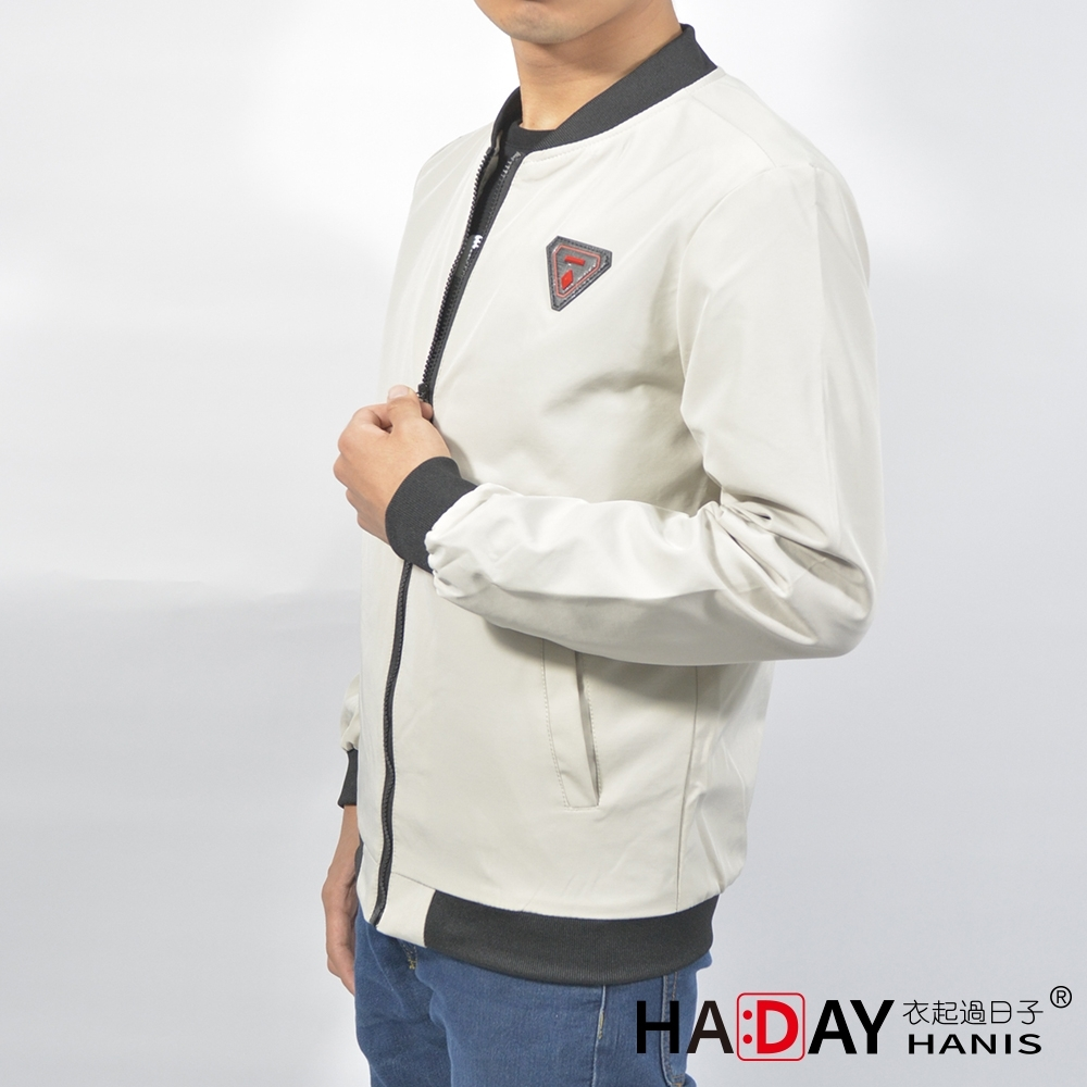 HADAY 男裝 防風風行外套 特殊鏢章 四季可穿 米白色