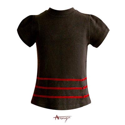 Anny小高領條紋造型素面上衣*2294咖啡