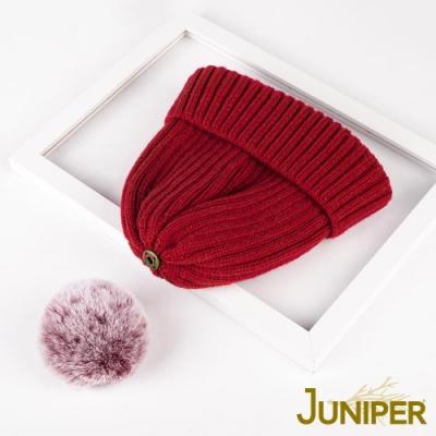 JUNIPER女款針織加絨可拆卸毛球帽