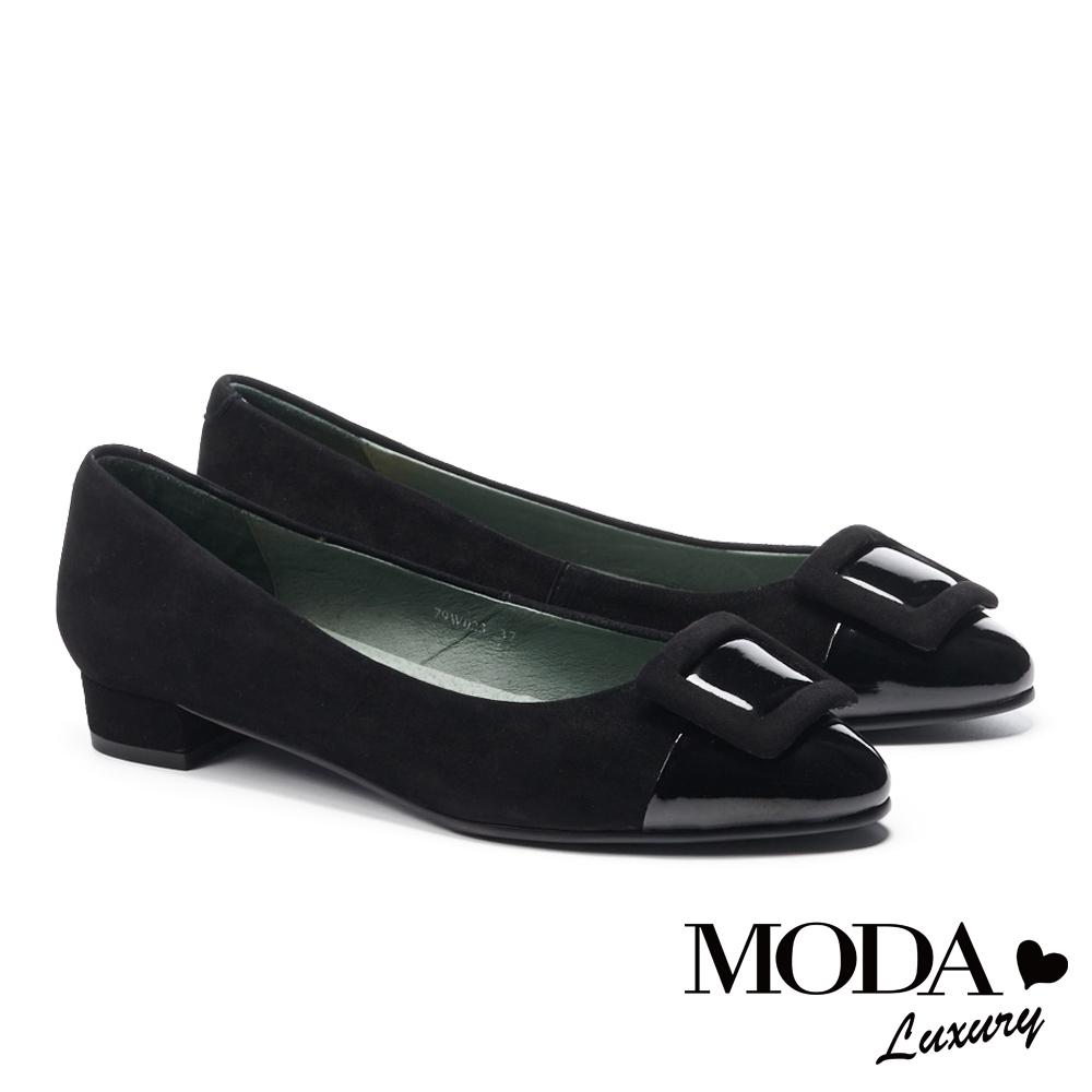 低跟鞋 MODA Luxury 沉穩內斂方釦異材質拼接尖頭低跟鞋-黑