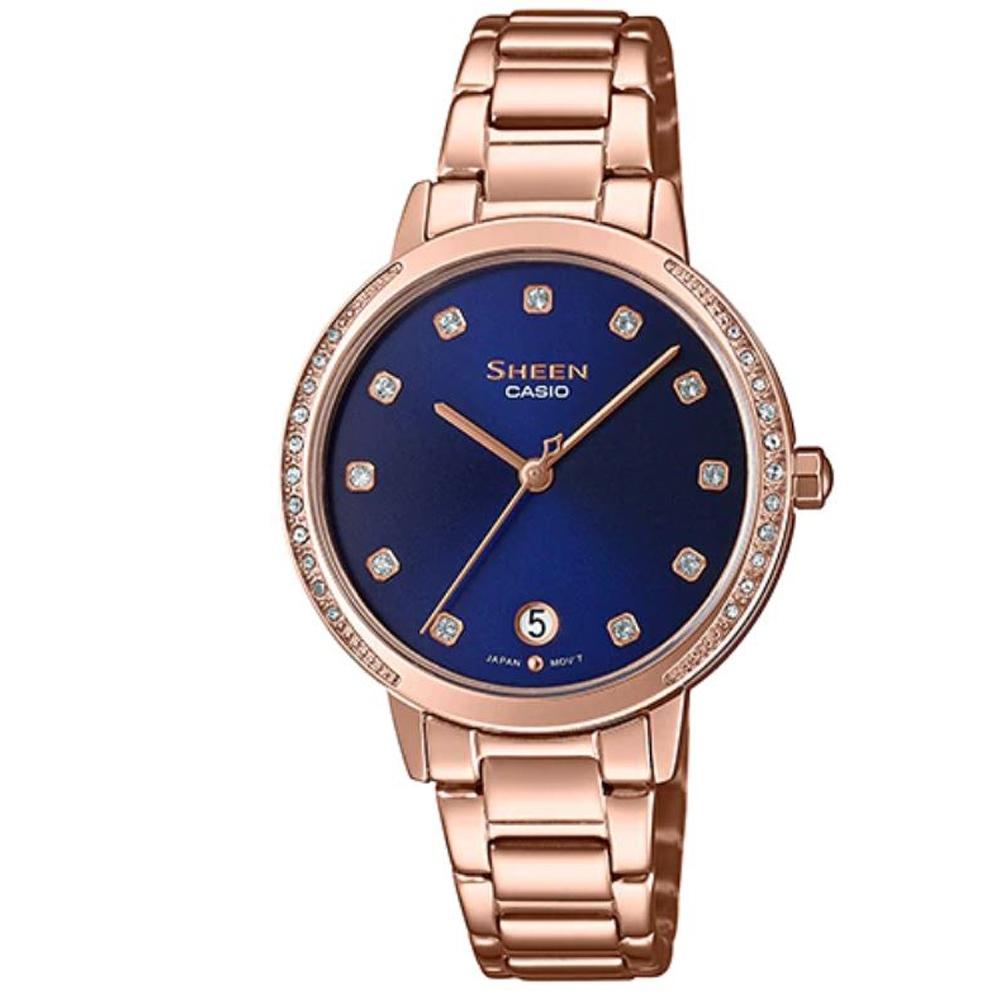 SHEEN 氣質女神玫瑰金不鏽鋼腕錶-藍面(SHE-4056PG-2A)/32mm