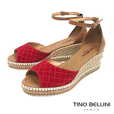 Tino Bellini 巴西進口幾何壓紋雙色麻編楔型魚口涼鞋 _ 紅