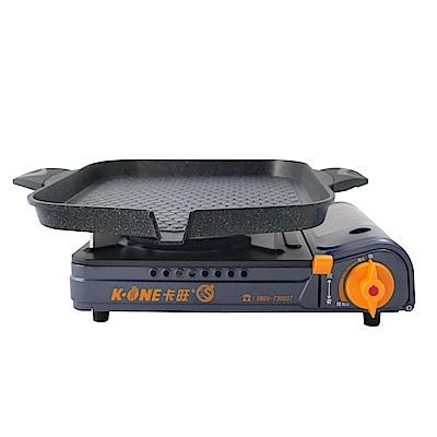 卡旺K1-A005D雙安全卡式爐+韓國原裝鋁合金不沾黏長方形烤盤(33CM)RDQ-330