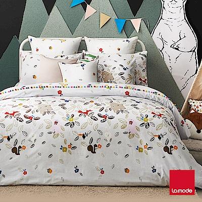La mode寢飾  動物躲貓貓環保印染100%精梳棉被套床包組(雙人)