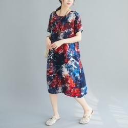 文藝格調圓領輕柔寬鬆連身洋裝F-(共三色)-Keer