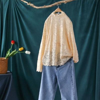 時尚洋氣鏤空蕾絲花邊領內搭衫薄版長袖上衣-設計所在