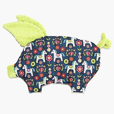 La Millou 豆豆小豬枕嬰兒枕-花漾馬其朵(夏日檸檬綠)