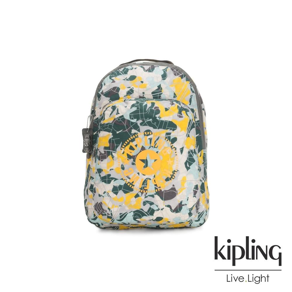 Kipling 城市探索地圖印花好收納後背包-BACKPACK