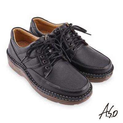 A.S.O  機能休閒 手縫氣墊綁帶商務休閒鞋-灰