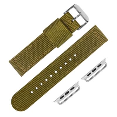 Apple Watch 蘋果手錶替用錶帶 休閒 尼龍帆布錶帶-軍綠色