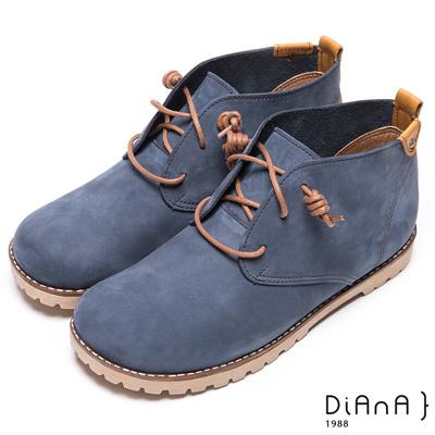 DIANA 質感玩味–細緻車線金屬釦牛皮高筒靴–藍