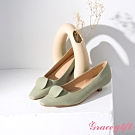 Grace gift-幾何圓片拼接低跟鞋 綠