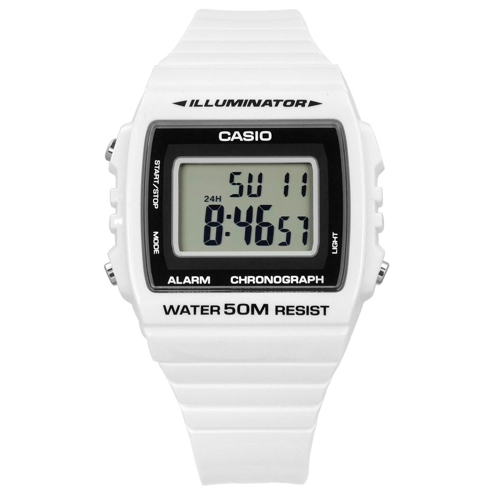 CASIO 卡西歐 計時電子橡膠手錶-白色 W-215H-7A 38mm
