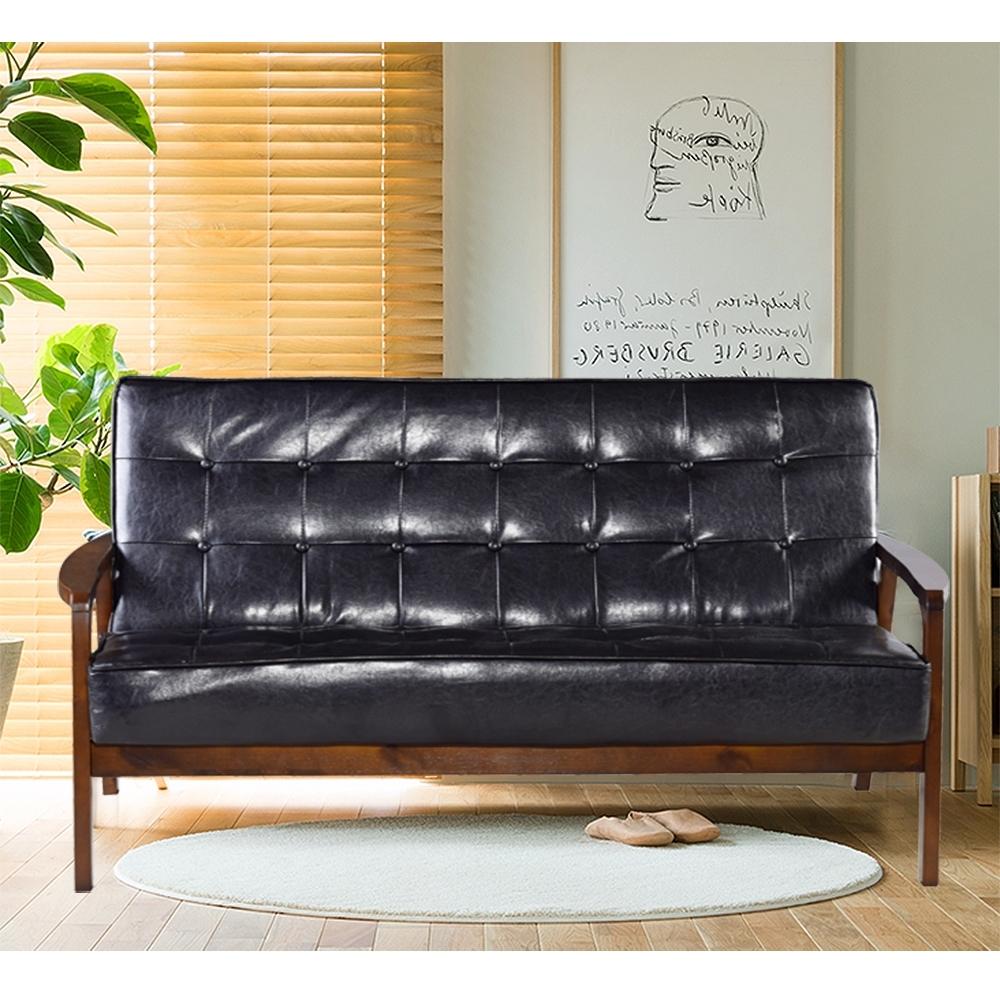 Ally愛麗-日式經典復古沙發150cm-三人坐-皮沙發黑色-強化版組裝好-