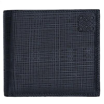 LOEWE Bifold Wallet 編織壓紋小牛皮對折八卡短夾(黑色)