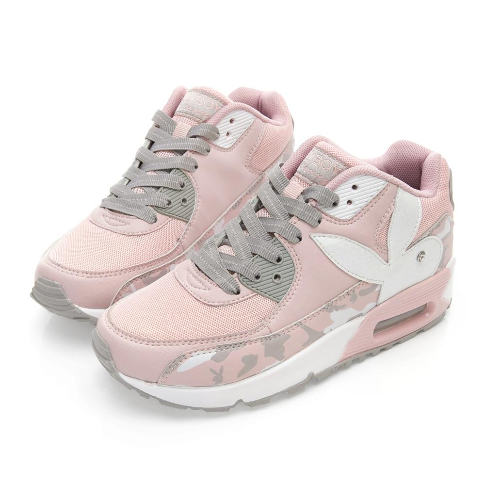 PLAYBOY 酷炫迷彩拼接氣墊運動鞋-粉-Y523099