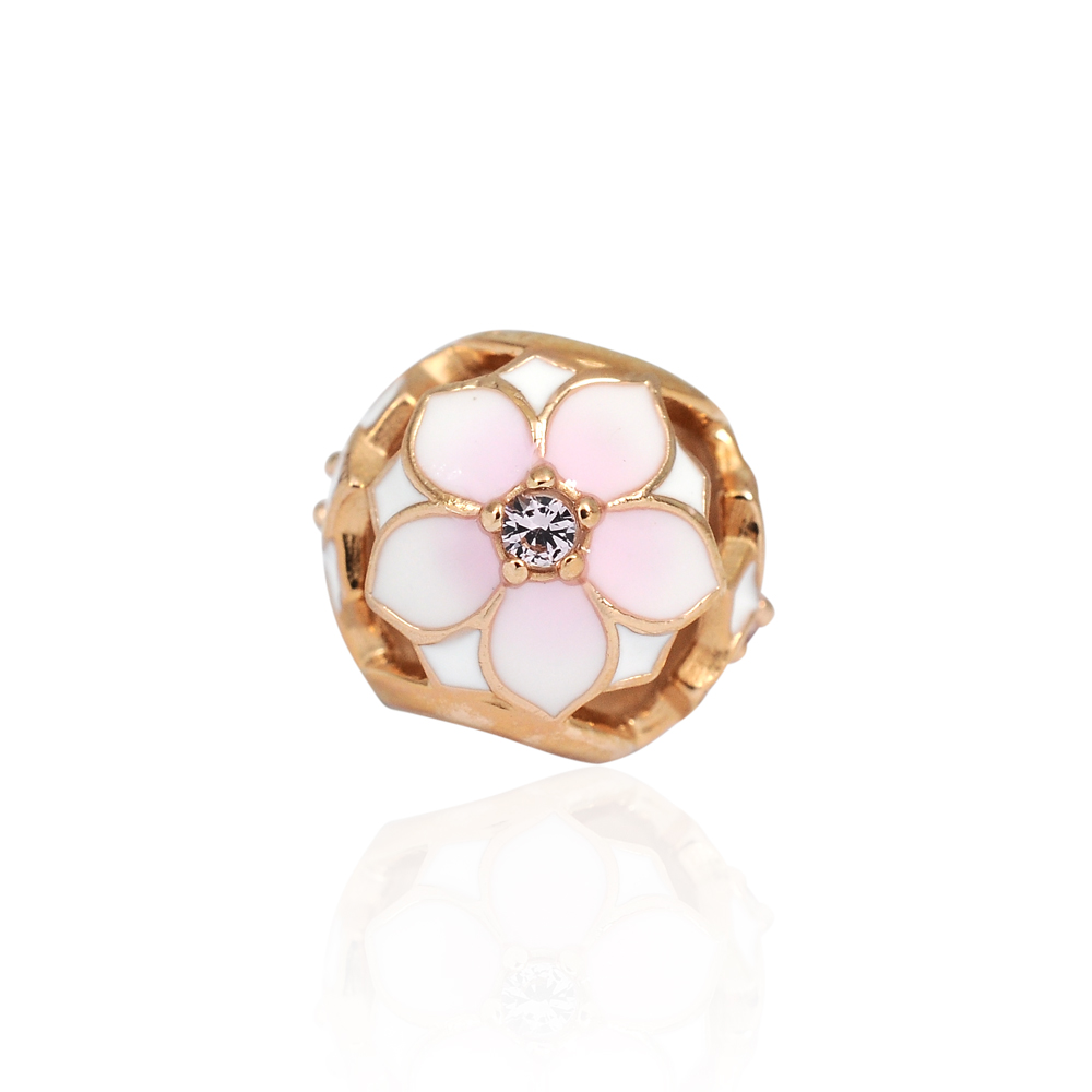 Pandora 潘朵拉 魅力琺瑯木蘭玫瑰金 純銀墜飾 串珠