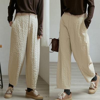 Q彈酶洗肌理雙層太空棉休閒褲-設計所在