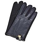 DAKS 日本製科技纖維格紋釦飾字母LOGO羊皮面手套(黑色系)