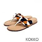 KOKKO - 簡約風尚抓皺夾腳涼拖鞋 - 萬花筒