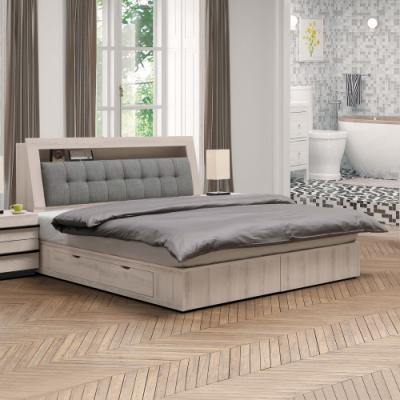 Boden-瑪諾6尺雙人加大床組(床頭箱+四抽收納床底)(不含床墊)