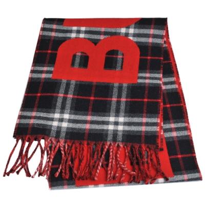 BURBERRY 義大利製大字母品牌LOGO Vintage 格紋窄版羊毛圍巾(紅/藍格紋)